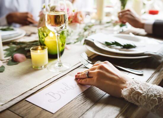Bride showing Engaement Ring on Left Hand on Wedding Celebratio